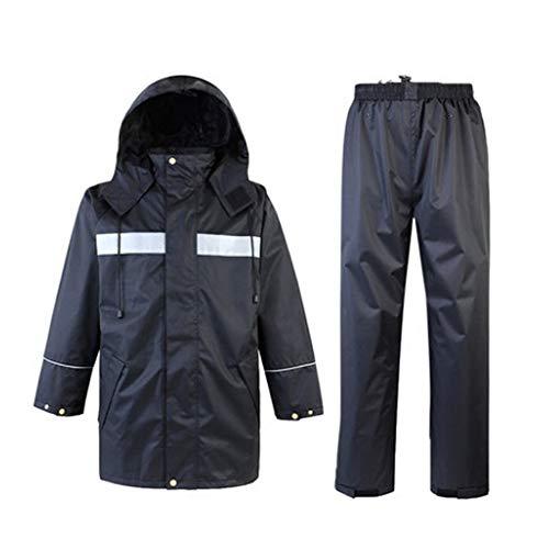 Uiophjkl Reflecterend vest waterdichte regenjas en broek, reflecterende veiligheids-regenjas met capuchon poncho-pak voor werk buitenshuis