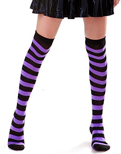 Women's Extra Long Striped Socks Over Knee High Opaque Stockings (Black & Purple)