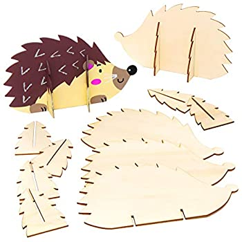 Baker Ross AW935 Stand Up Wooden Hedgehogs - Pack of 6 Arts and Crafts for Kids