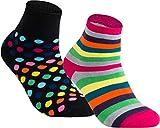 gigando | Colored Thermo Socks with Dots and Stripes | bunte Thermo Socken für Damen | warme, kuschelige Strümpfe mit extra weichem Bund | Geschenkbox | 2 Paar | black dots & pink stripes | 35-38 |