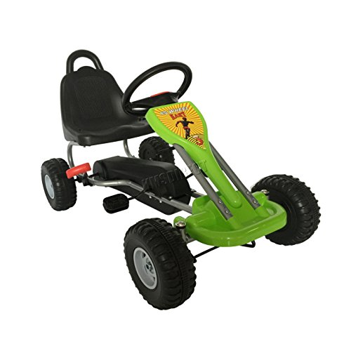 GALACTICA Kids Children Outdoor Go Kart Ride On Car With Pedal Plastic Wheels Handbrake G04 Green