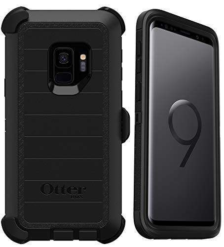 OtterBox Defender Series Rugged Case & Holster for Samsung Galaxy S9 (ONLY) Retail Packaging - Black - with Microbial Defense