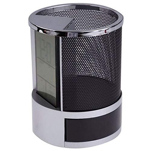 Portalápices con pantalla LCD digital de escritorio con función de calendario de temperatura de tiempo, color negro