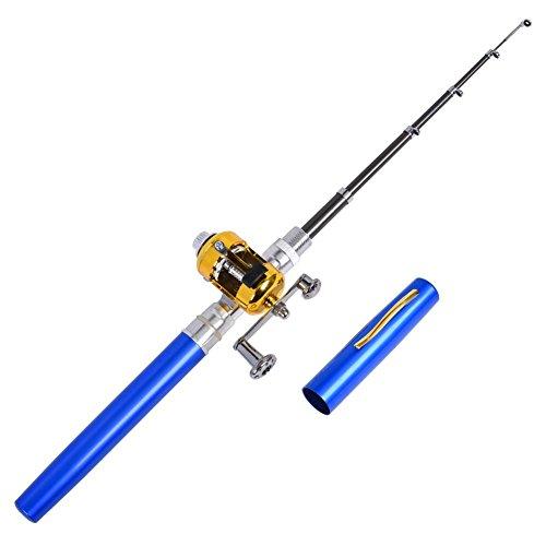 MYyouth set canna da pesca mulinello, portatile, a forma di penna telescopica canna da pesca linea esche morbide kit Fish Gear, green