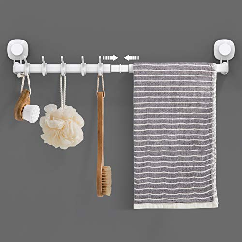 LUXEAR Suction Cup Towel Bar, 24 inches Adjustable Towel Rack, No Drill & Removable Hand Towel Holder with 5 Sliding Hooks, Wall Mounted Towel Bar for Bathroom, Kitchen, Door - White