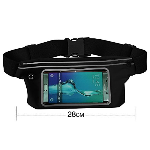 Waterproof Pouch,waist bag,waist belt,Waterproof Bag with Waist Strap,Best Dry Bag for iPhone 6s, 6 Plus, Samsung Galaxy S6 Edge, Dust Snowproof Pouch,for Boating/Hiking/Swimming/Diving/Beach-Black