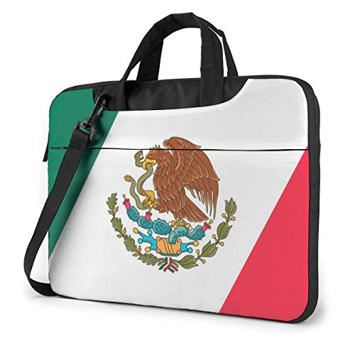 15.6 inch Laptop Shoulder Briefcase Messenger Mexico Mexican Flag Tablet Bussiness Carrying Handbag Case Sleeve