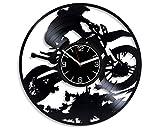Kovides Motorcycle Racing Decoration 12 inch Wall Clock Motocross Vinyl Record Wall Clock Motocross Art Birthday Gift for Boy Motocross Wall Clock Vintage Motorcycle Racing Wall Art Xmas Gift for Man