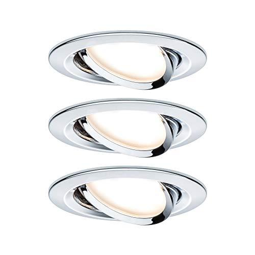 Paulmann 93880 Einbauleuchte LED Coin flache Einbaustrahler Slim Deckenspot rund 3x6,8W Chrom dimmbar und schwenkbar IP23 sprühwassergeschützt