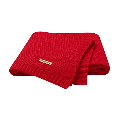 mimixing Mantas de bebé Mantas de Cochecito de niño de Punto Suave, 100 x 80 cm (Rojo)