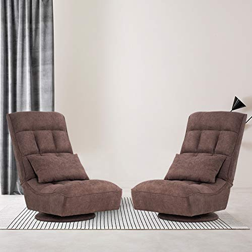 VINGLI 360 Degree Swivel Gaming Chair Set of 2, Floor Gamer Chair for Adults&Teens, Floor Gaming Chair with Adjustable Backrest/Free Lumbar Pillow for Gamers at Home, Three Reclining Positions, Brown