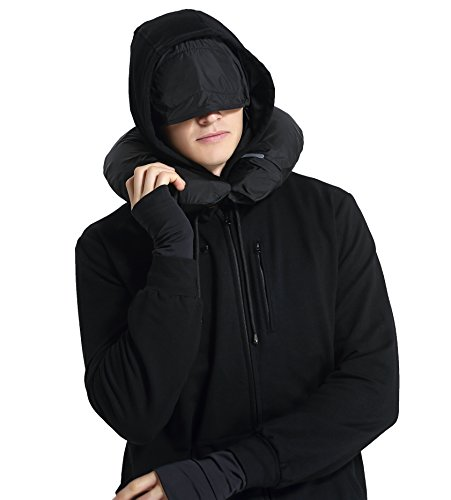 XY37 Men Travel Jacket Hoodie 10 Pockets Travel Pillow Eye Mask Face Mask Gloves,Black,Medium