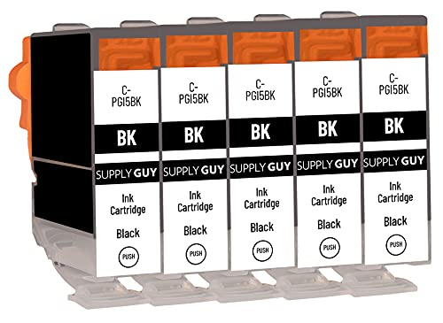 SupplyGuy 5 Cartuchos Compatible con Canon PGI-5 PGI-5bk Negro para IP3300 IP3500 IP4200 IP4200 Series IP4200x IP4300 IP4500 IP4500 Series IP4500x IP5200