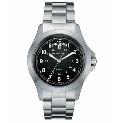 Hamilton Herren Analog Quarz Uhr mit Edelstahl Armband H64451133