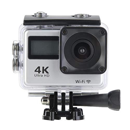 Actiecamerakit, 30 m waterdichte 4K 30FPS WIFI sportcamerakit met twee schermen voor gebruik buitenshuis, ondersteunt externe geheugenkaarten tot 64G, geschikt voor skiën, zwemmen, paardrijden