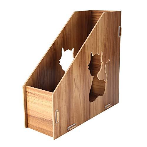Oficina de escritorio Caja de almacenamiento de archivos DIY Gatos huecos de madera Oficina de archivos Clasificador de libros Revista Holder Clasificador # 10CM * 25CM * 24 CM