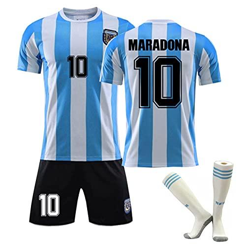 Argentinië retroshirt, 1986/1920 Maradona tricot nr. 10 voetbaluniform sportpak Argentinië thuisshirt voor mannen en vrouwen, speeltraining voetbal pak (1986, 26)
