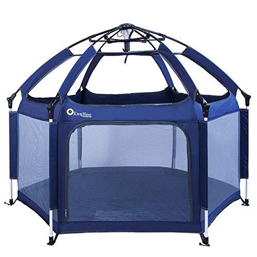 Exqline Box per Bambini Sicurezza Barriera Giochi Protezione Centro di Attività per Bambini Portatile con 6 Pannelli, per Interno ed Esterno (Blu Scuro con mat)
