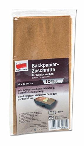 Unbekannt 50 Backpapier Zuschnitte aus naturbraunem Papier, eckig für Königskuchen - Kastenform, beidseitige Antihaft-Beschichtung, hitzebeständig bis 220°C, Sparpack