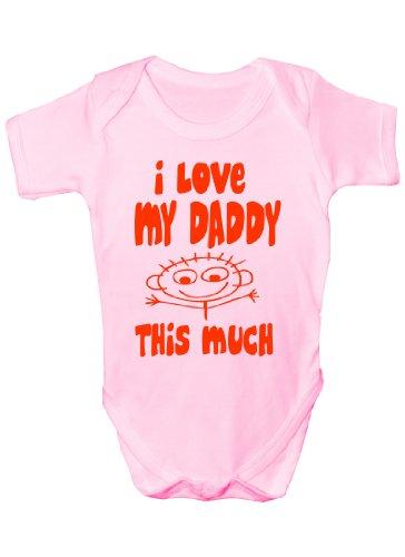 I Love My Daddy this much Cadeau humoristique Body bébé fille/garçon Sans manches pour bébés - Rose -