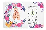 Baby Monthly Milestone Blankets Flower & Fox Design,Size 4060 in,120 GSM,Single-Sided Printed