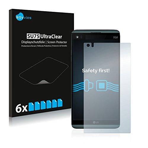 Savvies 6X Schutzfolie kompatibel mit LG V20 Bildschirmschutz-Folie Ultra-transparent