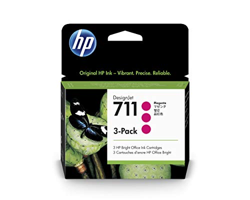 HP 711 Magenta 29-ml 3-Pack Genuine Ink Cartridges (CZ135A) for DesignJet T530, T525, T520, T130, T125, T120 & T100 Large Format Plotter Printers