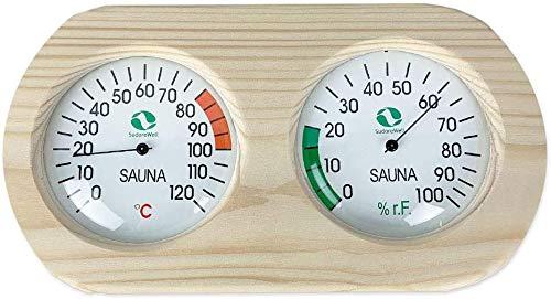 Sudorewell Sauna Messstation mit Thermometer + Hygrometer im Holzrahmen