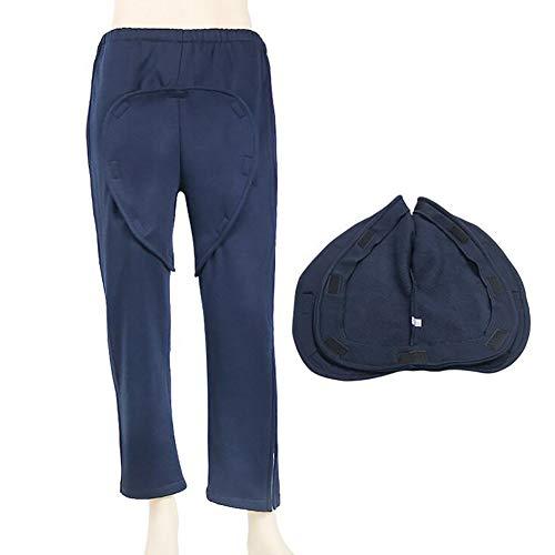 D&F Pantalones de incontinencia para Hombre y Mujer,Paciente Abierto Pantalones de Cuidado para Ancianos y Invalidez Adecuado para Cuidados postoperatorios,Armada,XXXL