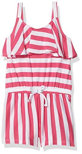 Nautica Girls Romper, Bright Pink Flounce Stripe, 4