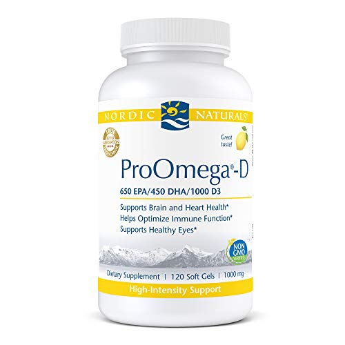 Nordic Naturals ProOmega-D, Lemon Flavor - 1280 mg Omega-3 + 1000 IU D3 - 120 Soft Gels - High-Potency Fish Oil - EPA & DHA - Brain, Eye, Heart, Joint, & Immune Health - Non-GMO - 60 Servings