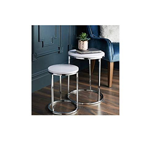 Z&Q Gloss White Round Nest of Tables Sofa Table Coffee Table End Table With Durable Chrome legs Easy to Assemble Side Tables Living Room Bedroom Hallway Nesting tables