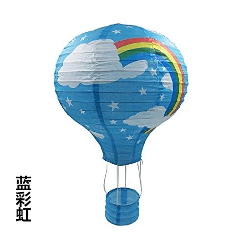 XKMY Farolillos de papel de 30 cm con forma de globo de aire caliente para Navidad, Halloween, niños, cumpleaños, bodas, suministros de fiesta (color azul arco iris, tamaño de la linterna: 30 cm