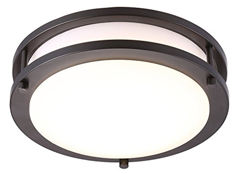 Cloudy Bay LED Flush Mount Ceiling Light,10 inch,17W(120W Equivalent) Dimmable 1150lm,5000K Day Light,Oil Rubbed Bronze Round Lighting Fixture for Kitchen,Hallway,Bathroom,Stairwell