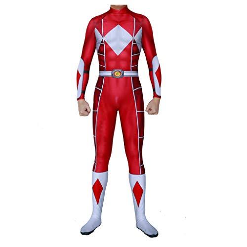 KIDsportxie Power Ranger Kostüm Halloween-Overall Unisex-Strampler Kids Ganzkörper-Set Erwachsene Outfits Halloween Geburtstag Weihnachten Masquerade Karneval,Red- 115~125cm