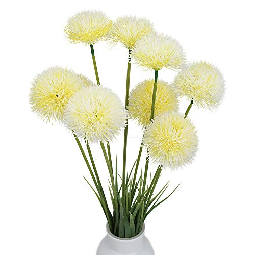 19 Inch Tall 9 Heads 3 Branches Fake Dandelion Dried Round Flowers Flovewer Plastic Dandelion for Home Kitchen Office Indoor Outdoor Decoration (Yellow / White)