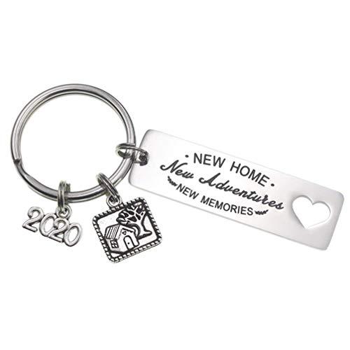 PRETYZOOM New Home Schlüsselanhänger mit Gravur Einweihungsgeschenk 2020 Liebhaber Anhänger Sprüche Edelstahl Schlüsselbund für Kinder Familien Lieblingsmensch Geschenk