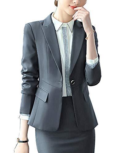 Damen Klassischer Business Look Anzug Blazer Slim Fit Hoseanzug Karriere Sakko Grau 2XL