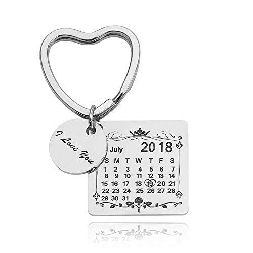 Grabado Fecha Personalizada Calendario Llavero Fecha Personalizada Colgante Llavero para Amantes Parejas (Corazón Corazon Plata)