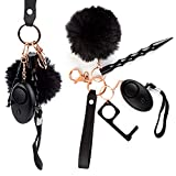 Self Defense Keychain for Women, Girls - Portable Protection Key Chain Tools - Women Safety Keychain with Alarm, Window Breaker, No Touch Door Opener, Wristlet, Pompom - Personal Defense (Black & Rose Gold)