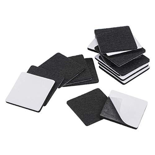 YeVhear Furniture Pads - Almohadillas de fieltro adhesivas (40 x 40 mm, cuadradas, 3 mm, 16 unidades), color negro