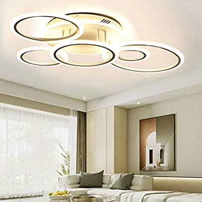 Modern Led Ceiling Light Fixture for Living Room Bedroom Dimmable Close to Ceiling Light Fixture with Remote 69W Modern Ceiling Lamps 6Rings Flush Mount Lighting Fixture Ceiling