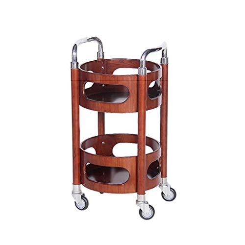 XUSHEN-HU Carro de té de madera para restaurante KTV redondo de acero inoxidable para entrega de tortas (color de madera original, tamaño: 440 x 820 mm) cocina