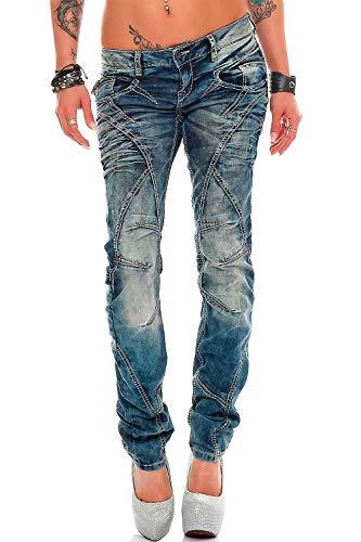 Cipo & Baxx - Jeans da donna, vestibilità normale, elasticizzati, con cuciture decorative Blu 31W x 30L