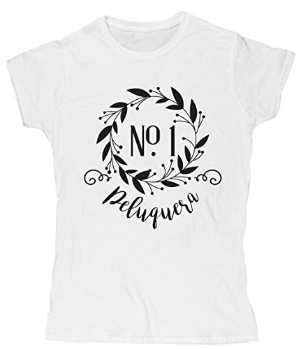 HippoWarehouse Decoración Floral Número Uno Peluquera camiseta manga corta ajustada para mujer