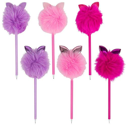 """ArtCreativity Pom Pom Bunny Ear Pens, Set of 6, Cute Stationery for Girls, 10"""" Black Ink Pens for Writing and Drawing, Fun Back to School Supplies, Birthday Party Favors for Kids, 3 Colors"""