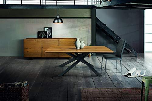 Fashion Commerce Tavolo FC1621, Legno massello, Rovere Grano, 250x100 cm