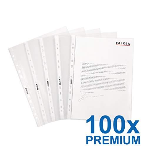 Original Falken 100er Pack Premium PP-Kunststoff Prospekthüllen. Für DIN A4 transparent glasklar oben offen Klarsichtfolie Plastikhülle Klarsichthülle ideal für Ordner Ringbücher und Hefter