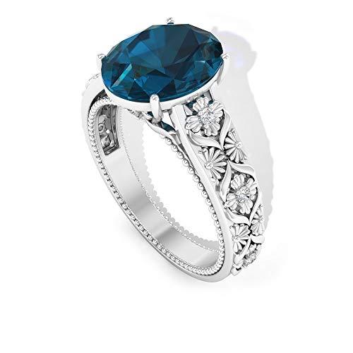 Anillo de compromiso único de 3,5 quilates con topacio azul de Londres, anillo de compromiso único, certificado SGL de diamante HI-SI, anillo de declaración, 14K Oro blanco, Size:EU 61