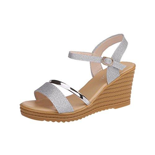 Sandalias de Vestir Plataforma tacón Alto de Playa para Mujer y Niña, QinMM Casual Zapatos Verano Fiesta Baño Chancla